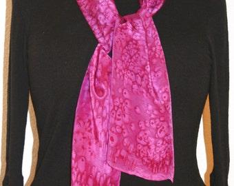 Silk Scarf Handpainted. Pink, Fuchsia Hand Painted Shawl Handmade FUCHSIA SUNSET. 8x54. Anniversary, Mother Gift. Gift-Wrapped