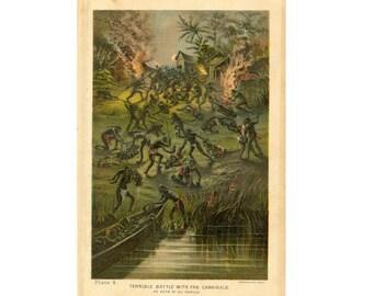 c. 1887 - CANNIBALS print - unusual native Africa scene - original antique native culture print - Fan Cannibals tribe - cannibalism