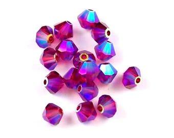 Ruby AB2X - 3mm, 4mm, 6mm, 8mm - Swarovski Crystal Bicone - 5301 - 5328
