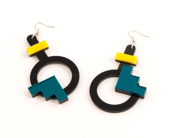 Geometric Perspex Statement Earrings - Yellow, Teal FORM_003