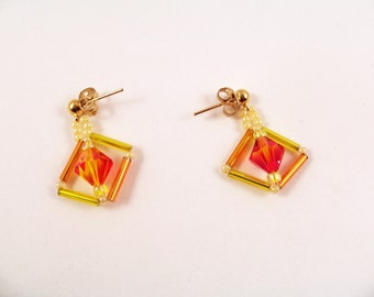 Fire Opal Earring Pattern, Beading Tutorial in PDF