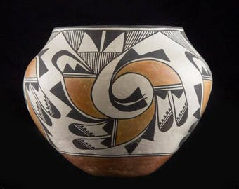 "Native American Vintage Acoma Poly Chrome Pottery Olla, ""Ca 1970's, #1222"