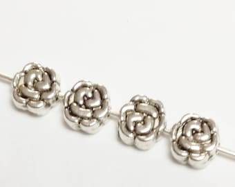 25pcs Rose Beads - Antique Silver Beads - Flower Beads - Silver Flower Beads - Silver Rose Beads - Floral Beads - 5mm Beads - B02307