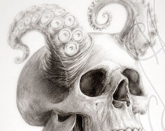"Martinefa's original drawing - "" Octoskull """