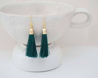 Teal Green and Gold Tassel Earrings