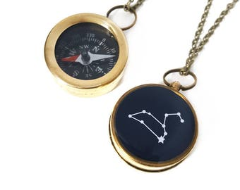 Leo Constellation Necklace, Zodiac Jewelry, Working Compass, Brass Chain, July Birthday, August Birthday, Holiday Gift, Astrology