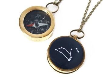 Leo Konstellation Halskette, Sternzeichen Schmuck, Arbeits Kompass, Messing-Kette, Juli Geburtstag, August Geburtstag, Weihnachtsgeschenk, Astrologie