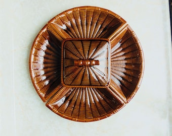 vintage lazy susan party dish, mid century tray, california pottery, brown rattan, ceramic chip and dip, 4 plates bowl with lid, 1960 decor