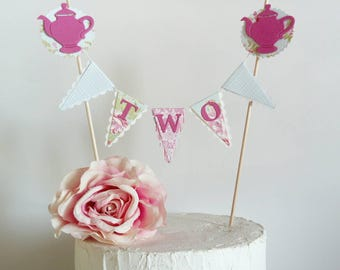 Tea for Two Cake Bunting Topper - Girls 2nd Birthday - Tea Party, Teapots - Pink, Green, Blue