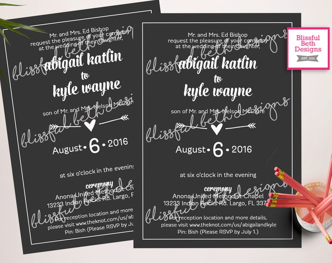 Simple Wedding Invitation - Simple Wedding Invite - Printable Invitation