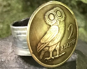 Greek Drachma Ring. Brass Ring with Owl. Athena Ring. Silver Ring with Owl. Goddess of Wisdom Ring. Handmade Silver Ring. Coin Ring. Greek