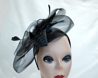 Black Feather Fascinator / Black Horsehair & Feather Fascinator /   Vintage Inspired Fascinator / Black Fascinator With Headband