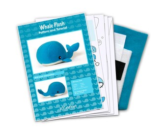 Fleece whale sewing make your own toy kit