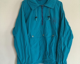 Quarter zip windbreaker Turquoise Boss