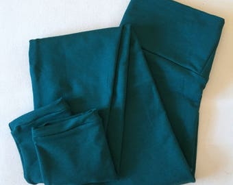 LEGGINGS / size L / bamboo french terry leggings / winter tights / by replicca / malachite / ready to ship