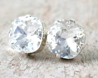Diamond | Swarovski Crystal | Cushion Cut | Swarovski Earrings | Square Earrings | Wedding Jewelry | Gift For Her | Crystal Clear Earrings