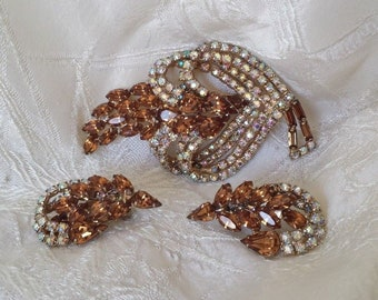 Vintage Juliana D & E Brooch Pin Earring Set Champagne Rhinestones