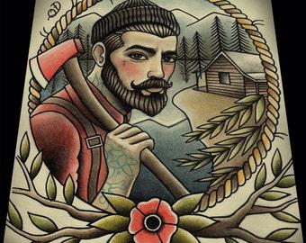 """Lumberjack Tattoo Art Print 11""""x13"""""""