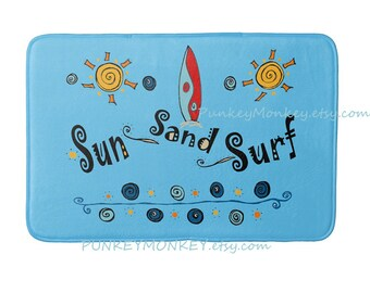Surfboard bath mat rug beach surf ocean bathroom Choose your colors memory foam bathroom mat for floor 3 sizes to choose from made to order