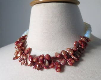 Red baroque pearls and moonstone short classic necklace. HALF PRICE Take 50% off.