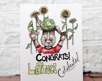 Funny Congrats Card, Congratulations Card, Celebration Card, Happy For You, Wedding Card, Just Because Card, Celebrate Card, Lettuce Gift