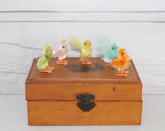 Vintage Lot of 5 Chenille Easter Chicks, Vintage Easter Decoration