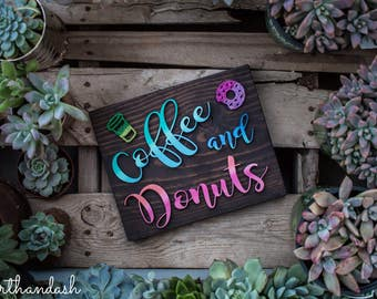 Laser Cut Coffee and Donuts Wood Sign, laser cut sign, lasercut
