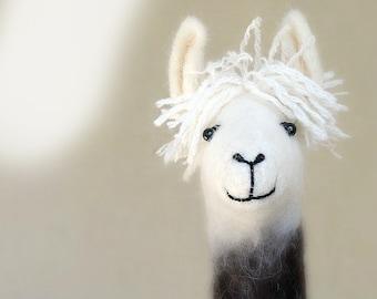 Felt Llama - Debora, Art Marionette Felt toy Puppet for kids Handmade Stuffed plush Toy Alpaca nursery decor brown cream white neutral beige