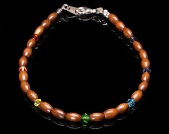 Wood and Swarovski Crystal Chakra Anklet