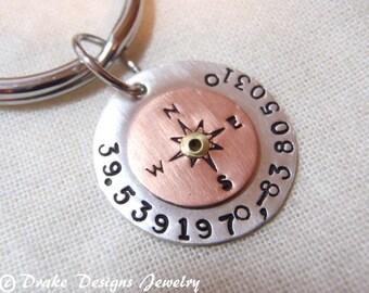 gps custom  coordinates keychain sterling silver Latitude  longitude key chain