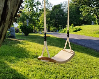KIDS SWING, kids wood swing, swing for children, swing for toddlers, arched seat, great both indoors and outdoors.