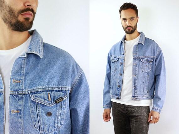 Denim Jacket Vintage Denim Jacket Men Oversize Jean Jacket 90s Denim Jacket Grunge Jean Jacket Blue Jean Jacket Large Denim Jacket