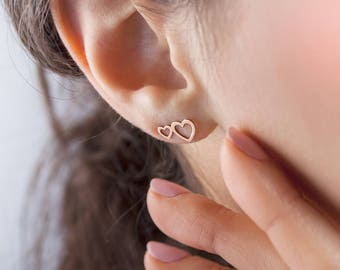 Double Rose Gold Heart Earrings, 14K Gold Earrings, Rose Gold, Solid Gold Heart, Two Heart Earrings, Gold Stud Earrings, Girlfriend Gift