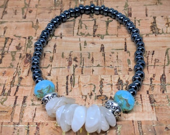 Moonstone Bracelet -- Stretchy Adjustable Bracelet with Natural Moonstone, Silver Plate Spacers and Polished Czech Glass Beads
