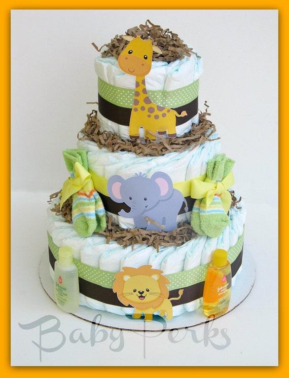 Gender Neutral Jungle Diaper Cake Safari Baby Shower Decorations Cakes