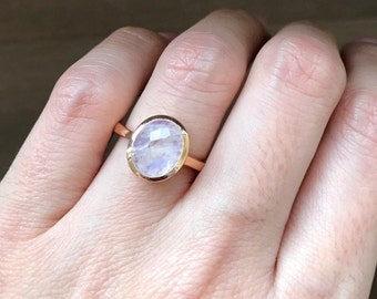 Rose Gold Moonstone Ring- Rainbow Moonstone Boho Ring- Oval Rose Cut Ring- Solitaire June Birthstone Ring- Sterling Silver Ring-Jewelry Gift
