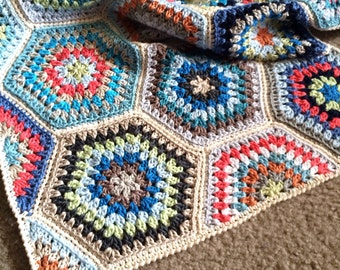 Crochet blanket Pattern tutorial/BabyLove Brand/CypressTextiles/Painted Hexagons Blanket/granny stitch throw/rustic traditional modern easy