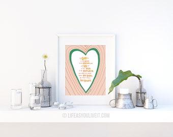 God is too Good Handlettered Print / Faith Over Fear / Gifts for Her / Unique Gifting Ideas / Faith Hope Love / Handmade Items / Home Decor
