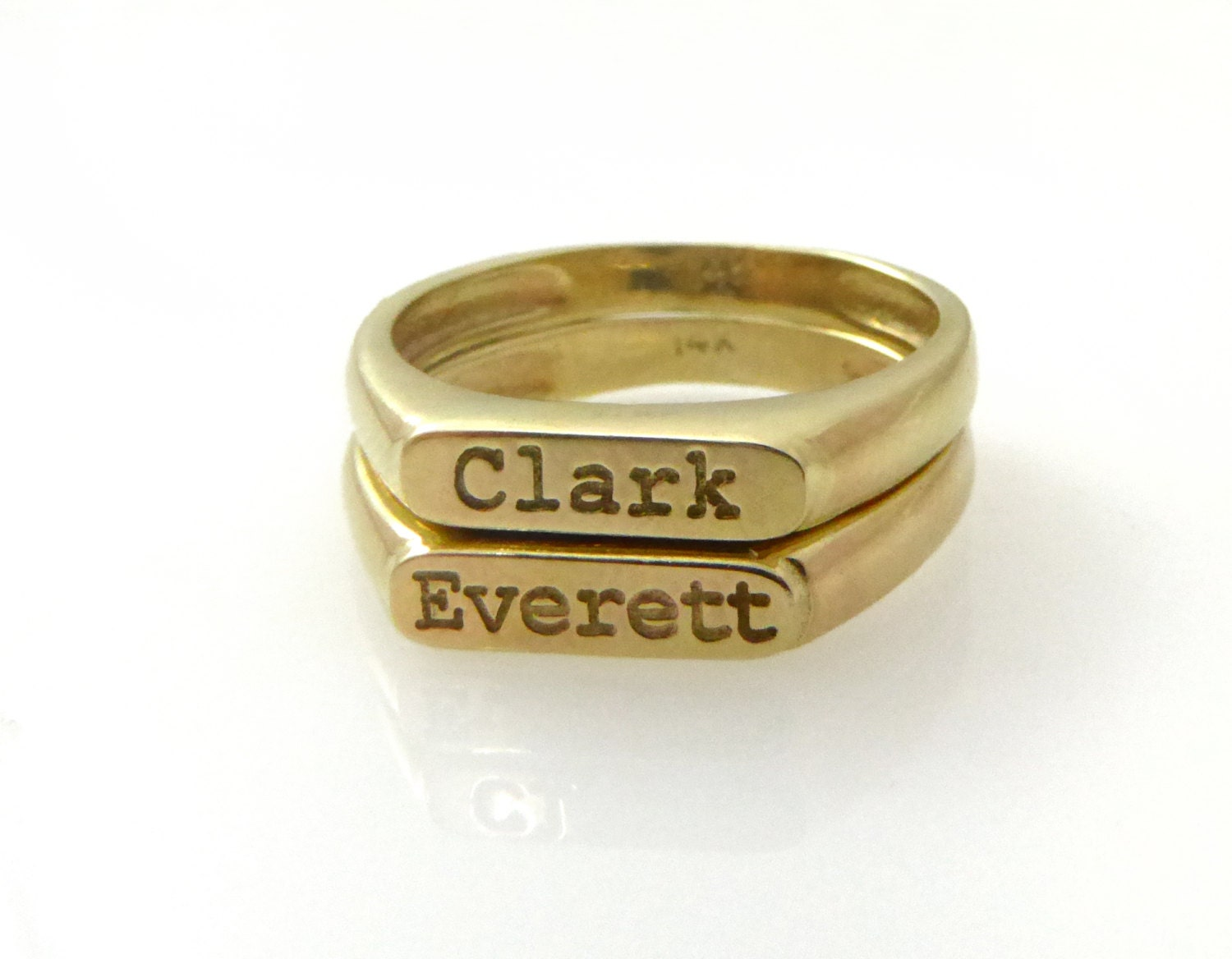 Two name ring Gold ring Personalized ring Word ring Name