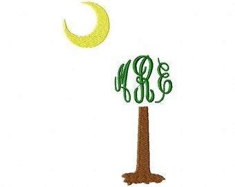 Monogram South Carolina palmetto with crescent moon design download 4x4 and 5x7