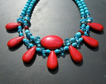 Chunky Turquoise Statement Necklace, Big Bold Bib Necklace, Blue Stone Necklace, Double Strand, Tribal Necklace, Red and Blue Necklace  993