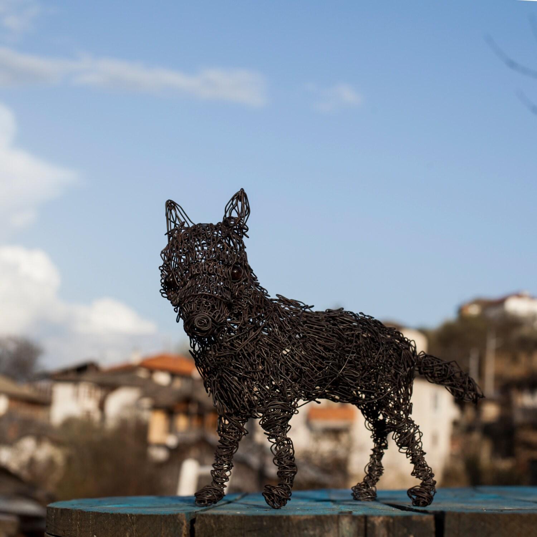 Wolf Tierfigur Metall-Skulptur Metall Kunst schrulligen
