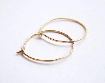 Delicate gold filled hoop earrings - 19mm 20mm hammered gold hoops - everyday sleeper earrings - Sterling silver hoops