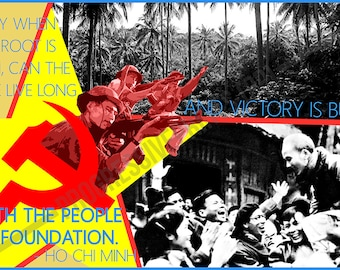 Poster, Ho Chi Minh, Victory is Built With the People as Foundation