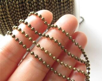 Bead Chain Antique Brass Beaded Ball Chain Handmade Jewelry Finding 2.4mm