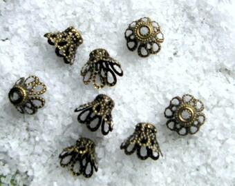 Set of 10 bead caps or caps caps antique bronze filigree