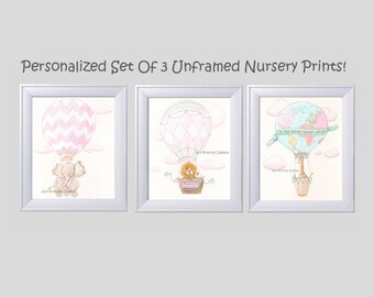 Hot Air Balloon Nursery Personalized Baby Girl Gift, Set Of 3, Travel Theme Nursery Prints, Pink Baby Shower Gift, Air Balloon Wall Art