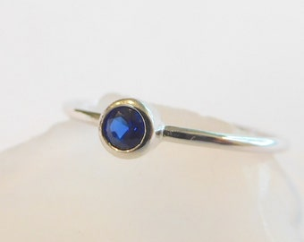 Dainty Sapphire CZ ring - Sterling Silver  September Birthstone Color*