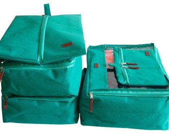 Suitcase Organizers 5 pcs Turquoise Set Travel organizer Bag organizers Packing Cubes Gift for Traveler Packing Bags Luggage organizers