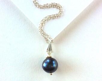 Black Baroque Pearl Solitaire Necklace